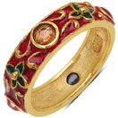 3.50 Grams Multi Tourmaline Gold Plated .925 Sterling Silver Multicolor Enamel Ring