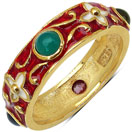 3.60 Grams Multi Tourmaline Gold Plated .925 Sterling Silver Multicolor Enamel Ring