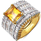 10.38 Grams Citrine & White Cubic Zirconia Gold Plated Brass Ring