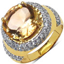 6.60 Grams Genuine Citrine & White Cubic Zirconia Gold Plated Brass Ring