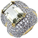7.83 Grams Green Amethyst & White Cubic Zirconia Gold Plated Brass Ring