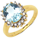 3.60 Grams Blue Topaz & White Cubic Zirconia Gold Plated Brass Ring