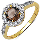 1.90 Grams Smoky Topaz & White Cubic Zirconia Gold Plated Brass Ring