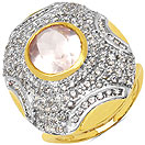 7.10 Grams Rose Quartz & White Cubic Zirconia Gold Plated Brass Ring
