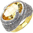 9.40 Grams Citrine & White Cubic Zirconia Gold Plated Brass Ring