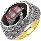 10.70 Grams Garnet & White Cubic Zirconia Gold Plated Brass Ring