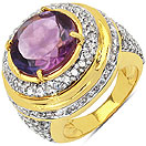 9.80 Grams Amethyst & White Cubic Zirconia Gold Plated Brass Ring