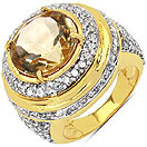 9.90 Grams Citrine & White Cubic Zirconia Gold Plated Brass Ring