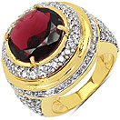 10.10 Grams Garnet & White Cubic Zirconia Gold Plated Brass Ring