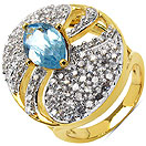 6.90 Grams Blue Topaz & White Cubic Zirconia Gold Plated Brass Ring