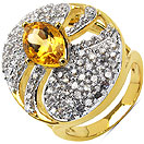 6.90 Grams Citrine & White Cubic Zirconia Gold Plated Brass Ring