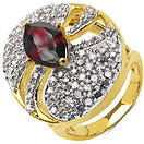 6.50 Grams Garnet & White Cubic Zirconia Gold Plated Brass Ring