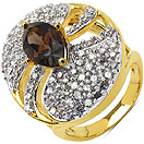 6.70 Grams Smoky Topaz & White Cubic Zirconia Gold Plated Brass Ring