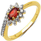 1.70 Grams Rhodolite & White Cubic Zirconia Gold Plated Brass Ring