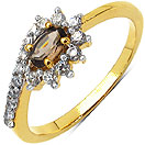 1.60 Grams Smoky Topaz & White Cubic Zirconia Gold Plated Brass Ring