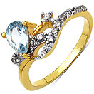 1.80 Grams Blue Topaz & White Cubic Zirconia Gold Plated Brass Ring