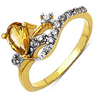1.70 Grams Citrine & White Cubic Zirconia Gold Plated Brass Ring