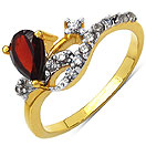 1.80 Grams Garnet & White Cubic Zirconia Gold Plated Brass Ring