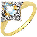 1.70 Grams Blue Topaz & White Cubic Zirconia Gold Plated Brass Ring