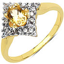 1.80 Grams Citrine & White Cubic Zirconia Gold Plated Brass Ring