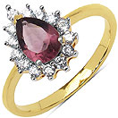 2.20 Grams Amethyst & White Cubic Zirconia Gold Plated Brass Ring