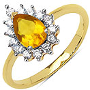 2.10 Grams Citrine & White Cubic Zirconia Gold Plated Brass Ring