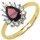 2.20 Grams Rhodolite & White Cubic Zirconia Gold Plated Brass Ring