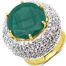 11.10 Grams Green Onyx & White Cubic Zirconia Gold Plated Brass Ring