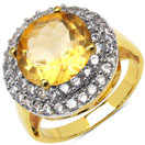 4.80 Grams Genuine Citrine & White Cubic Zirconia Gold Plated Brass Ring