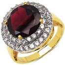 5.20 Grams Genuine Rhodolite & White Cubic Zirconia Gold Plated Brass Ring