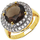4.80 Grams Genuine Smoky Topaz & White Cubic Zirconia Gold Plated Brass Ring