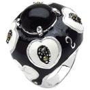 14.10 Grams Black Onyx & Marcasite Brass White & Black Enamel Ring