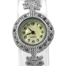 28.10 Grams Marcasite Rhodium Plated .925 Sterling Silver Watch