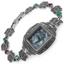 """26.00 Grams Marcasite, Ruby & Emerald Rhodium Plated .925 Sterling Silver Watch"""