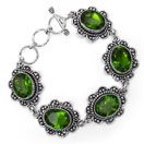 KLG Exim Green Glass Brass Bracelet