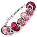 24.52 Grams Pink Italian Murano Glass & Pink Crystal Sterling Silver Pandora Style Charm Beaded Bracelet - Pink - 7.50 Inches