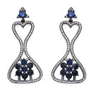 Indian Touch Genuine Iolite & White Cubic Zirconia Black Rhodium Plated .925 Sterling Silver Earrings