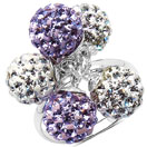4.74 Grams Purple Crystal & White Crystal .925 Sterling Silver Ball Shape Ring