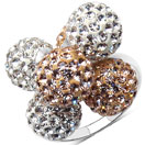 4.29 Grams Champagne Crystal & White Crystal .925 Sterling Silver Ball Shape Ring