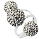 4.31 Grams White Crystal .925 Sterling Silver Ball Shape Ring