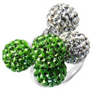 4.29 Grams Green Crystal & White Crystal .925 Sterling Silver Ball Shape Ring