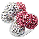 4.39 Grams Pink Crystal & White Crystal .925 Sterling Silver Ball Shape Ring