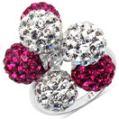 4.36 Grams Pink Crystal & White Crystal .925 Sterling Silver Ball Shape Ring