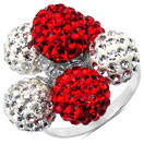 4.30 Grams Red Crystal & White Crystal .925 Sterling Silver Ball Shape Ring