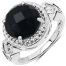 3.50CTW Black Onyx .925 Sterling Silver Solitaire Ring