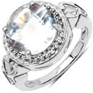 3.40CTW Crystal .925 Sterling Silver Solitaire Ring