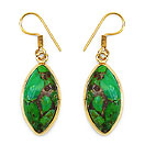 Masterpieces Green Copper Turquoise Gold Plated Brass Earrings