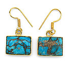 Masterpieces Blue Copper Turquoise Gold Plated Brass Earrings