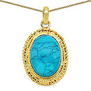 Masterpieces Turquoise Gold Plated Brass Oval Shape Solitaire Pendant