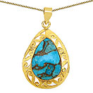 Masterpieces Blue Copper Turquoise Gold Plated Brass Pear Shape Solitaire Pendant